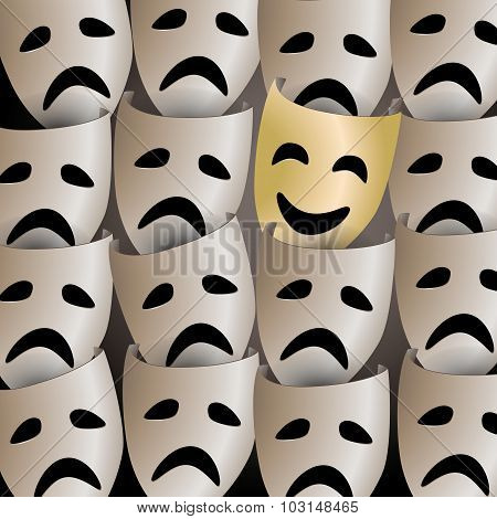 Smiling Theater Mask In A Crowd Of Sad Masks
