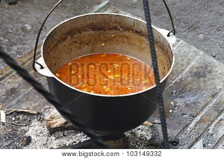 cauldron of soup cooked on coals
