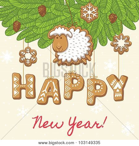 Happy New Year as gingerbread cookies. Vector illustration