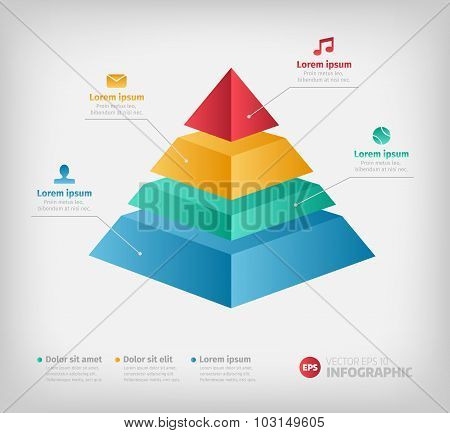Pyramid cone info chart graphic for business design.