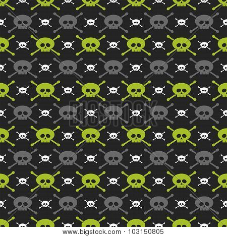 Green, Gray And White Skulls Over Dark Background