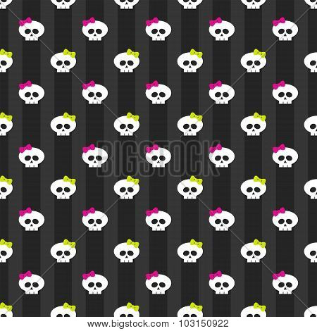 Funny White Skulls With Bows Over Dark Background
