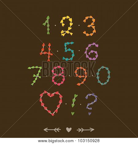 Cute hand drawn numbers with hearts