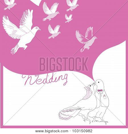 Wedding card of doves