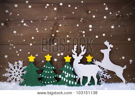 Christmas Decoration, Reindeer Couple, Green Tree, Snowflakes
