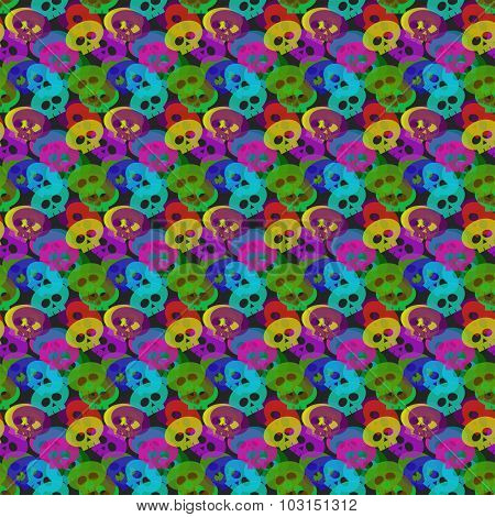 Colorful Transparent Skulls Over Dark Background