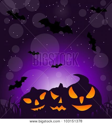 Halloween ominous pumpkins on moonlight background