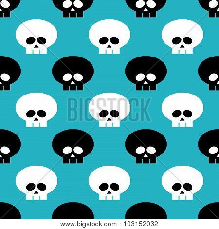 Seamless Pattern With Black And White Skulls Over Blue