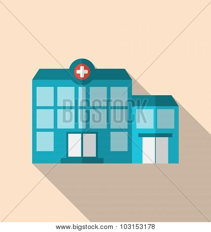 Flat icon of hospital building with long shadow