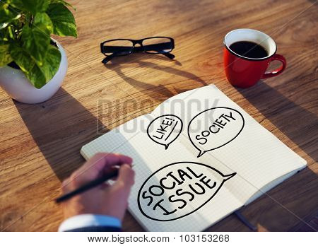 Businessman Social Issue Planning Writing Working Concept