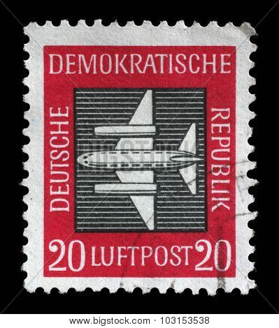 GDR - CIRCA 1957 A Stamp printed in GDR (East Germany) shows a airplane with the inscription Airmail from the series Airmail , circa 1957