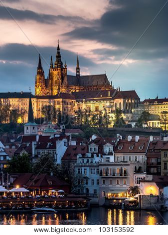 Prague Castle at dusk, Prague, Czech Republic