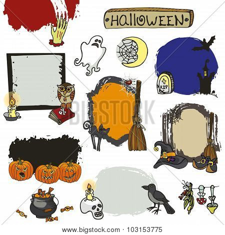 Halloween spooky lebel set.Doodles isolated badges