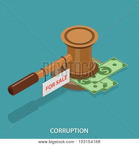 Corruption isometric flat vector concept.