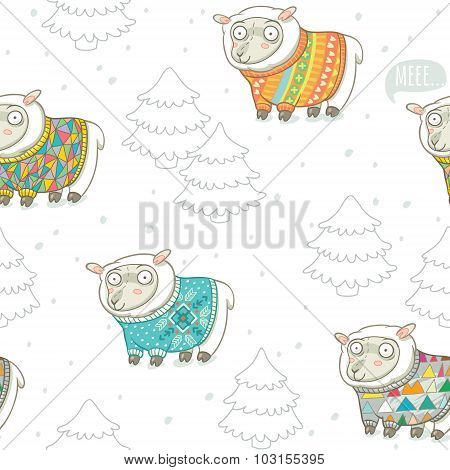 Seamless pattern with cute sheep in knitted sweaters