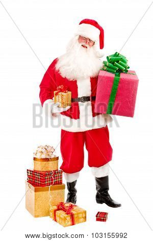 Santa Holding Christmas Present In His Hands On A White Background