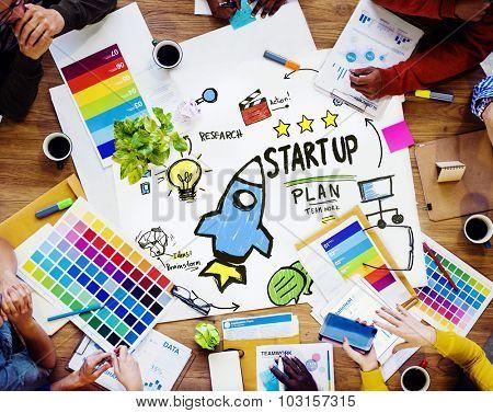Start Up Business Launch Success Design Team Concept