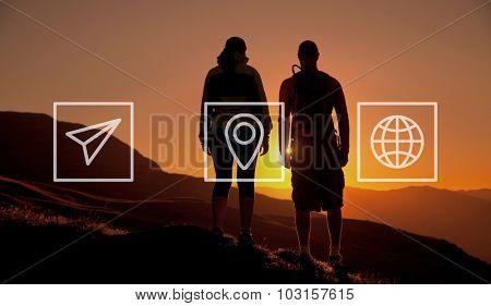 Location Navigation Travel Trip Place Journey Concept