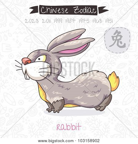 Chinese Zodiac. Sign Rabbit. Vector illustration