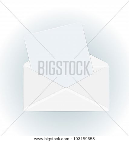 White open envelope with paper card