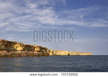 Coastal Sea Rocks Beautiful View Resort Landscape In Tarhankut