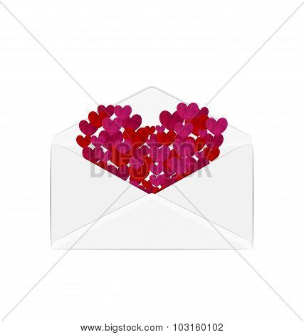 Paper grunge hearts in open white envelope