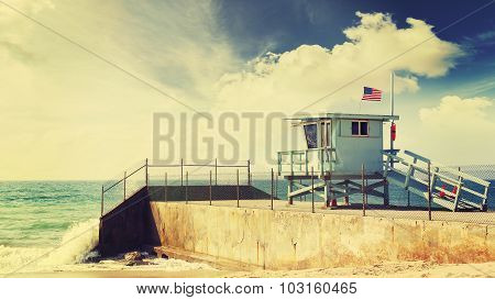Vintage Retro Toned Lifeguard Tower In Santa Monica Beach, Usa.