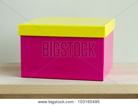 Blank Colorful Paper Box On Wooden Table