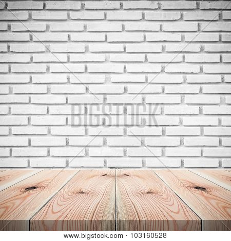 Brick Wall Background With Wood Floor, Room With Brick Wall And Wood Table