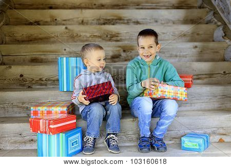children opening presents