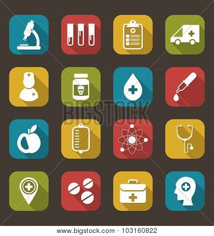 Trendy Flat Icons of Medical Elements