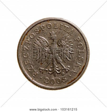 Poland Coin Twenty Pennies Isolated On A White  Background. Top View.