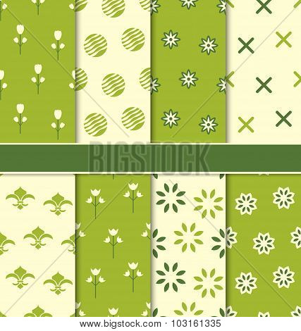 Collection of 8 Seamless Abstract Floral Ecologic Pattern