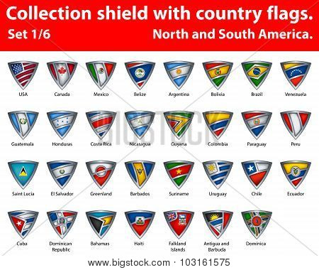 Collection shield with country flags
