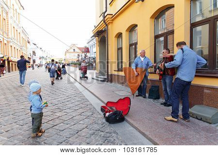 Street Musicians Playing On The Street Of Hrodna