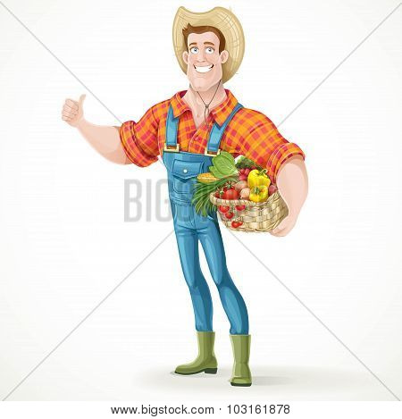 Cute Young Guy Farmer With A Big Basket Of Vegetables Showing Th