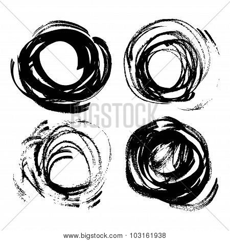 Set Of Vector Round Texture Thick Strokes Black Paint Isolated On White Background