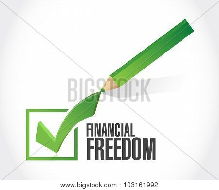 Financial Freedom Check Mark Approval Sign