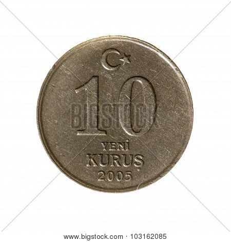 Coin Ten New Kurush Turkey Fone.vid Isolated On A White  Background. Top View.