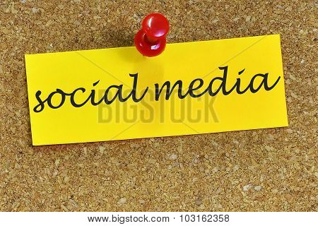 Social Media Word On Notepaper With Cork Background