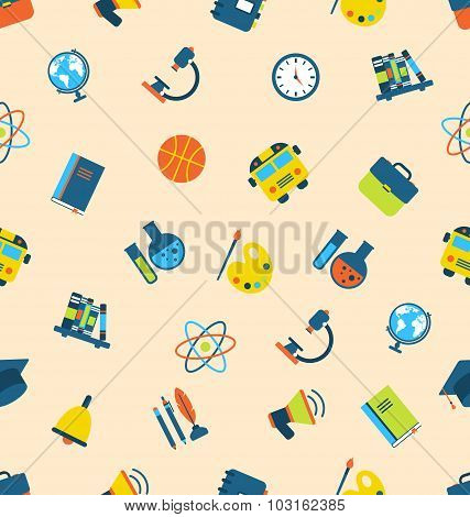 Illustration Seamless Pattern with Icons of Education Subjects,