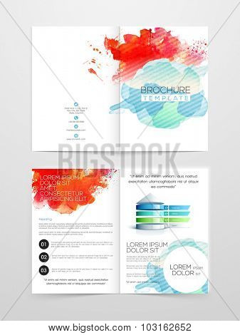 Creative Two page Business Brochure, Flyer, Banner or Template with colorful splash.