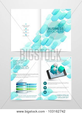 Creative professional Two page Business Brochure, Flyer, Banner or Template with smartphone.
