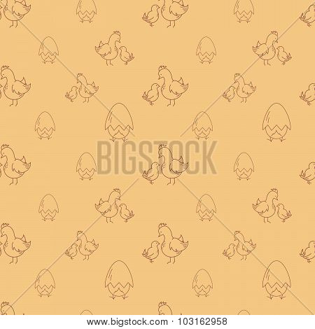 Seamless pattern with eggs and chickens