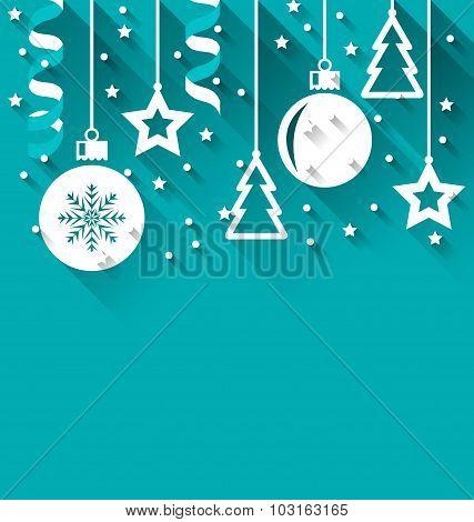 Xmas background with fir, balls, stars, streamer, trendy flat st