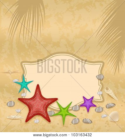 Vintage greeting card with shells and starfishes and place for t