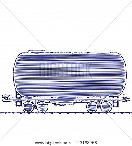 Illustration petroleum cistern wagon freight railroad train, han