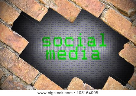 Hole In Brick Wall With Social Media Word