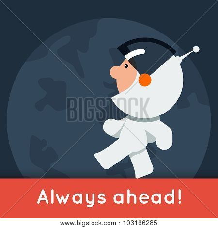 Flat style vector banner with little funny astronaut walking on the ground