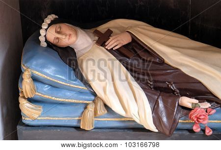 LJUBLJANA, SLOVENIA - JUNE 30: Saint Rosalia also called The Little Saint, altar in the Franciscan Church of the Annunciation in Ljubljana, Slovenia on June 30, 2015